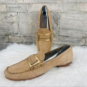 Cole Haan Suede Tan and Gold Loafer Size 9